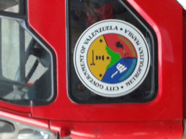 Valenzuela seal in a fire truck. Saw this one in front of Kentex factory
